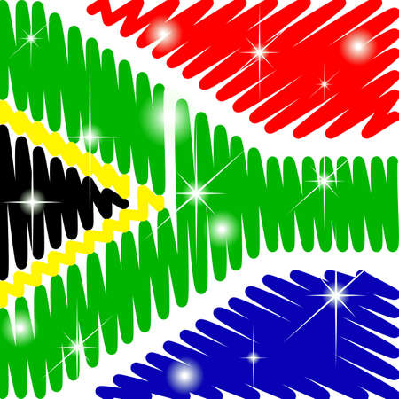 scribbled South Africa flag with shining Illustration