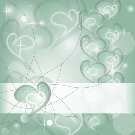 Aquamarine Heart wishing card with shines and headline Stock Vector - 12330510
