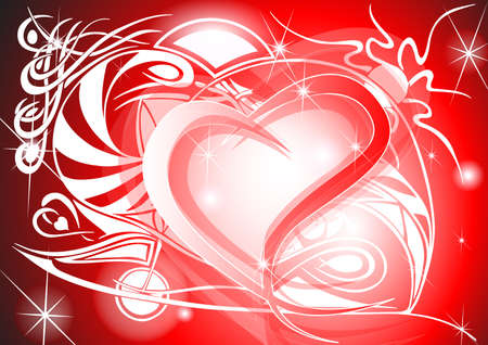 Tribal Valentine heart with tribal background and headline Vector