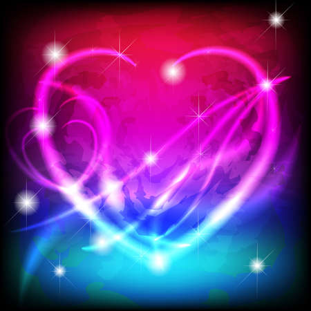 Glowing stylized heart in magic colored background