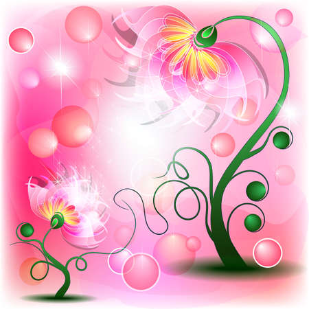 Fairy pink mum and baby flowers in abstract dreamy background Vector