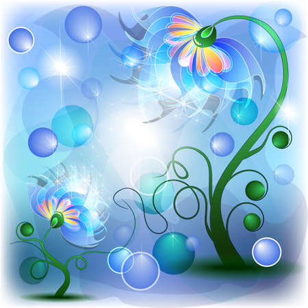 Fairy blue mum and baby flowers in abstract dreamy background Vector