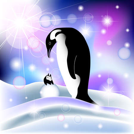 Parent and baby penguin in snowy background with aurora borealis Illustration