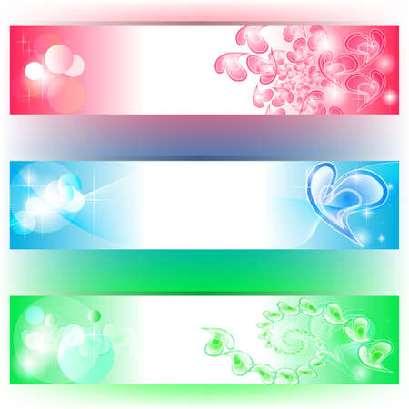 3 colourful banners with hearts and bubbles