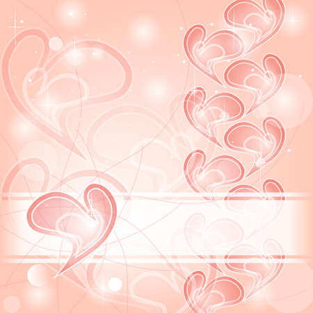Delicate romantic pink hearts card Vector