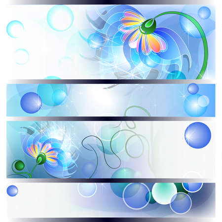 Banner with fairy blue mum or dad and baby flowers Vector