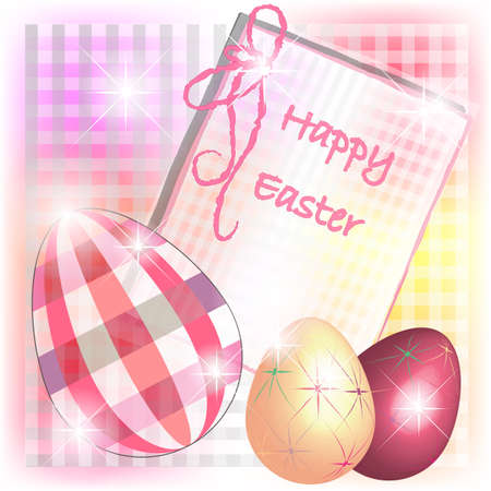 Easter card with eggs in checks and fantasy colors Illustration