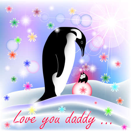 Dad and baby GIRL penguin with polar background and spring flowers