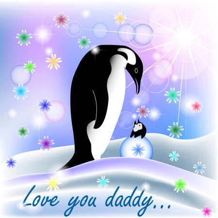 cold day: Dad and baby BOY penguin with polar background and spring flowers