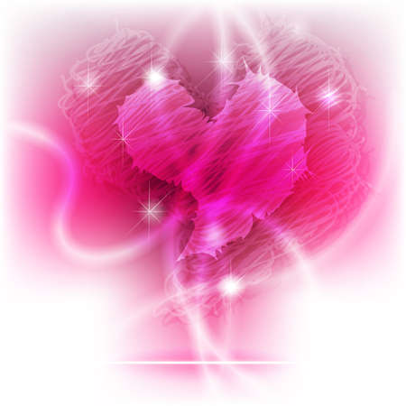 Glowing, scribble and brilliant purple heart for valentine background