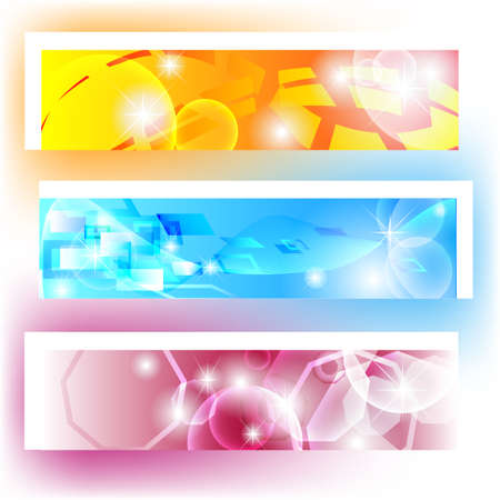 Colorful banners with shapes and shining for website Stock Vector - 12822434
