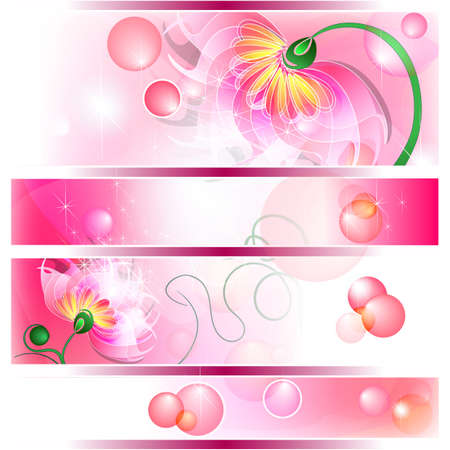 4 Banner with pink fairy flowers, bubbles and shinings Vector