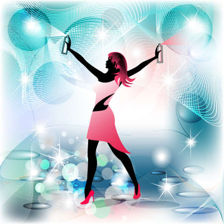 Donna governante silhouette in movimento a spruzzo e sfondo pulito Archivio Fotografico - 12822436