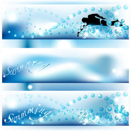 Set of 3 swimming banners with bubbles and water Vector
