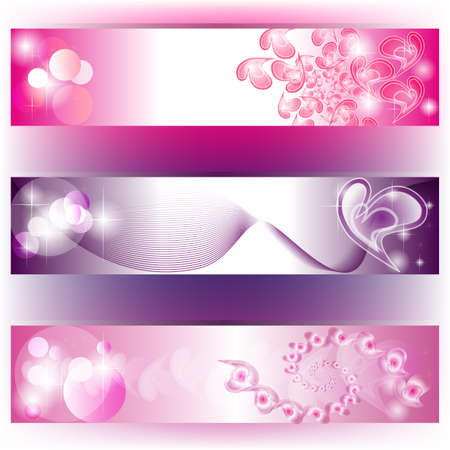 Set of 3 purple banners with hearts distributions Stock Vector - 13321208