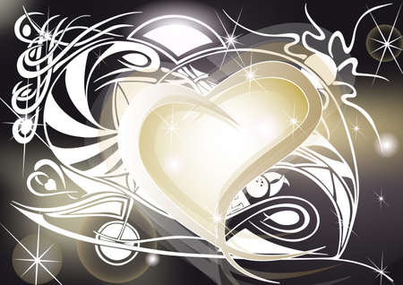 Golden heart with tribal designs, spiral and shining Vector