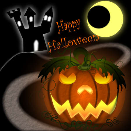 Halloween Pumpkin with castle and moon Stock Photo - 13356263