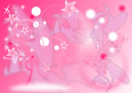 Fantasy pink stars trees Stock Photo