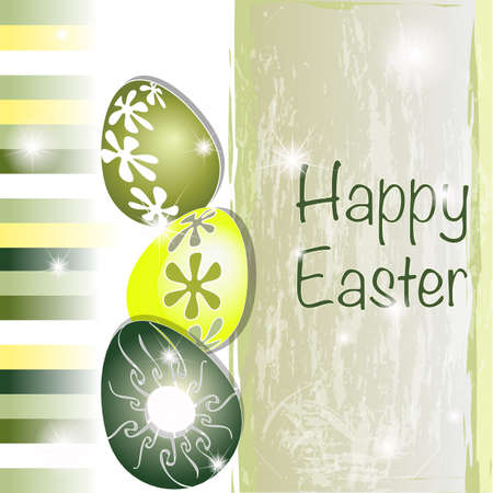 Green and yellow Easter card with original eggs and stripes Stock Vector - 13356264