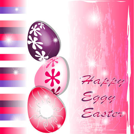 Happy Eggy Easter in pink and purple with stripes Vector