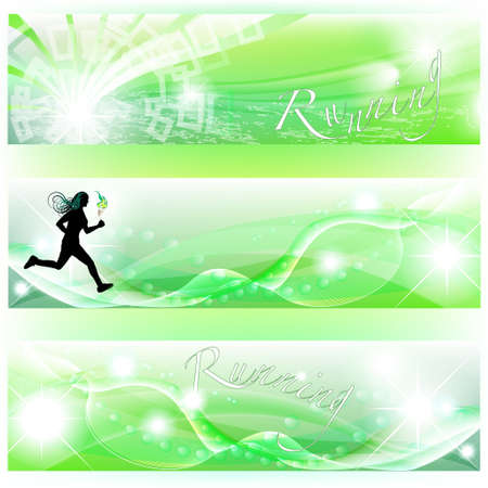 Set of 3 banners with runner, sports competition torch and abstract effects