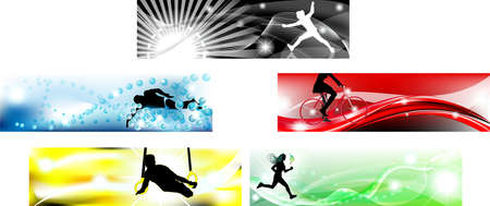 sports competition Banner in typical five colors one for each sport