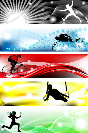 5 Sports (fence, swimming, bike, gymn, athletics) banner with five brilliant colors