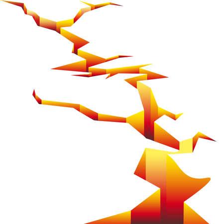 Cracked in tonalità di colore giallo e rosso come simbolo del terremoto italiano