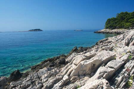 Mare paesaggio Magic in Pritzba con colori da sogno, Croazia Archivio Fotografico
