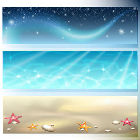 Banner with dark sky, brilliant sea and starry sand Vector
