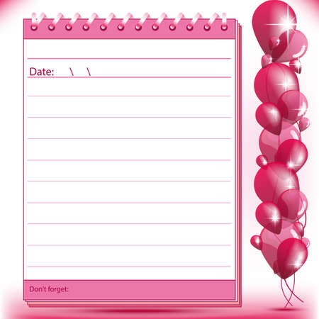 Lined block notes page in pink shades with balloons