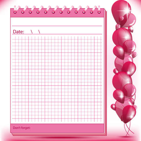 Arithmetic block notes in pink shades with balloons