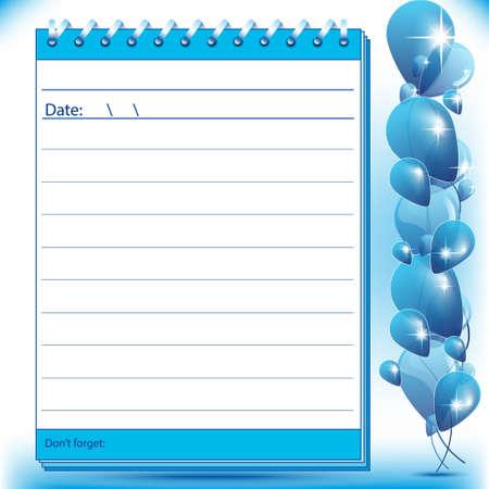Foderato pagina Block note in tonalità blu con palloncini