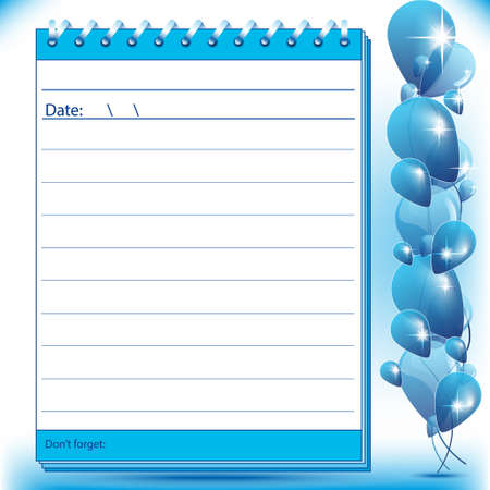 postscript: Lined Block notes page in blue shades with balloons