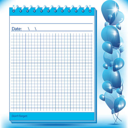 arithmetic: Arithmetic block notes in blue shades with balloons Illustration