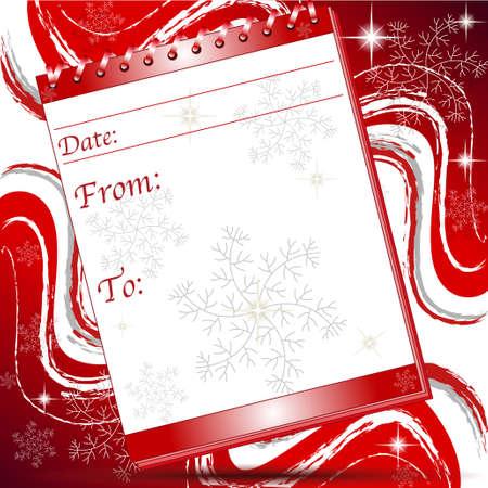 Natale nota pagina di blocco con fiocchi di neve e le stelle Vettoriali