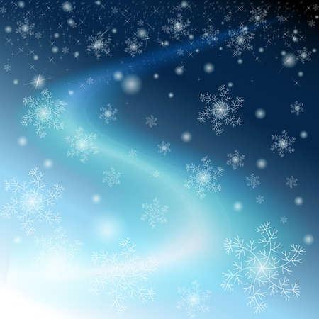 Inverno cielo blu con fiocchi di neve, le stelle e la Via Lattea