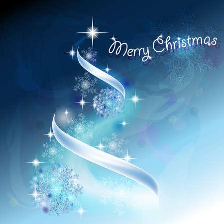 Romantico albero di Natale con i fiocchi di neve e nastri a sfondo blu