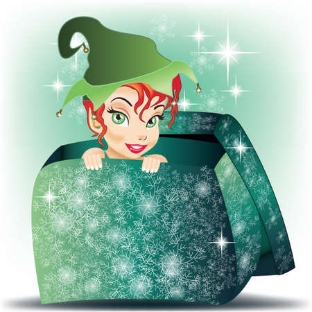 Beautiful Elf smiling girl coming out from gift wrap