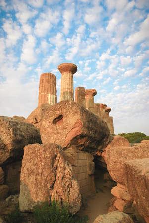 Valle dei Templi, tempio rovine, Agrigento, Italia Archivio Fotografico