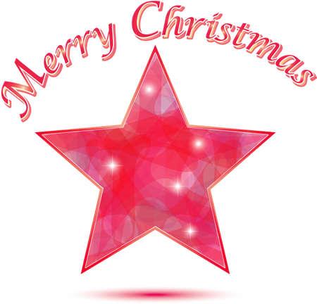 Buon Natale Stella sfondo in colori rosso e rosa Vettoriali
