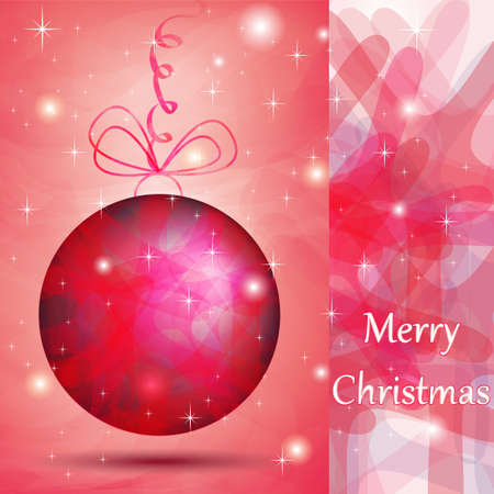 Elegant Christmas ball with pink shades for wishes card Vector