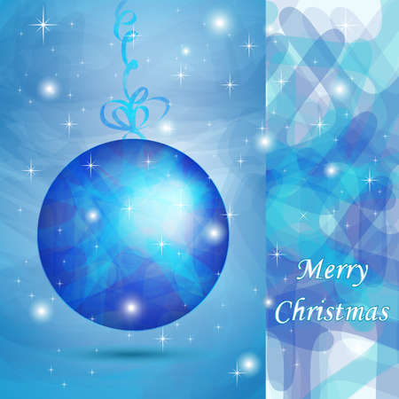 Elegant Christmas ball with blue shades for wishes card