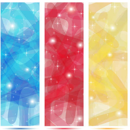 Scribble banners in colors blue, red and gold with shinings