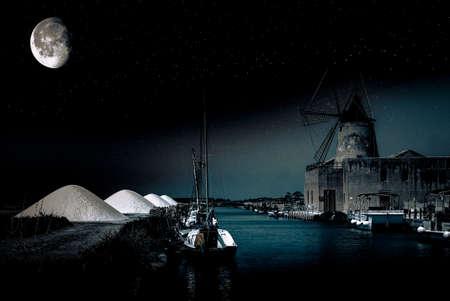 Mulino a vento in una notte di fantasia Ronchiglio Sicilia Italia