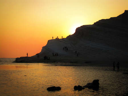 Suggestive dusk at Scala dei Turchi - Turkish stairs Agrgento Italy Stock Photo