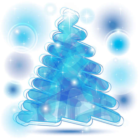 Scribble Christmas Tree in blue with brilliant bubbles Vector
