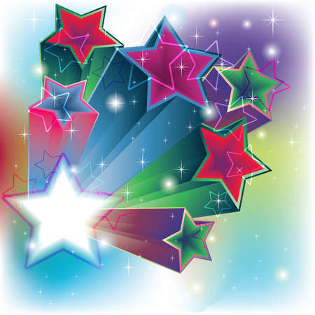 Stars estrude for an energy colorful card background