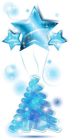 Blu Scribble albero di Natale con palloncini stelle