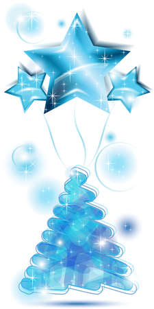 Blue Scribble Christmas tree with stars balloons
